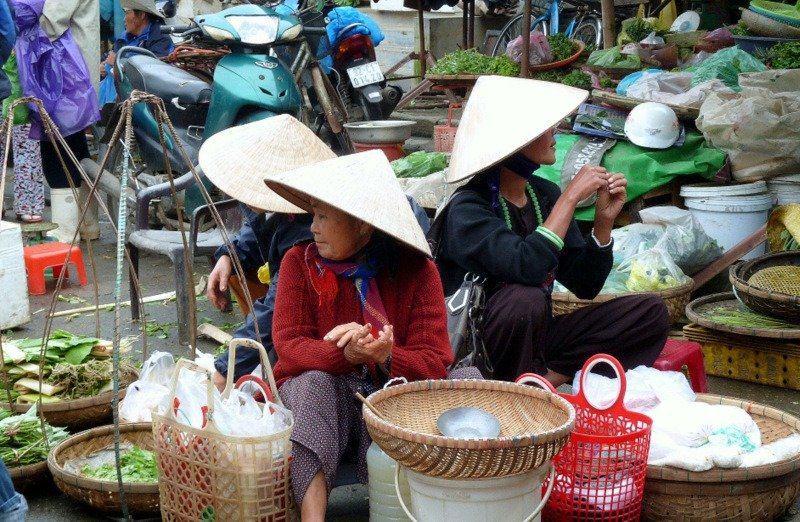 Three Women in Hoi An Market, Vietnam