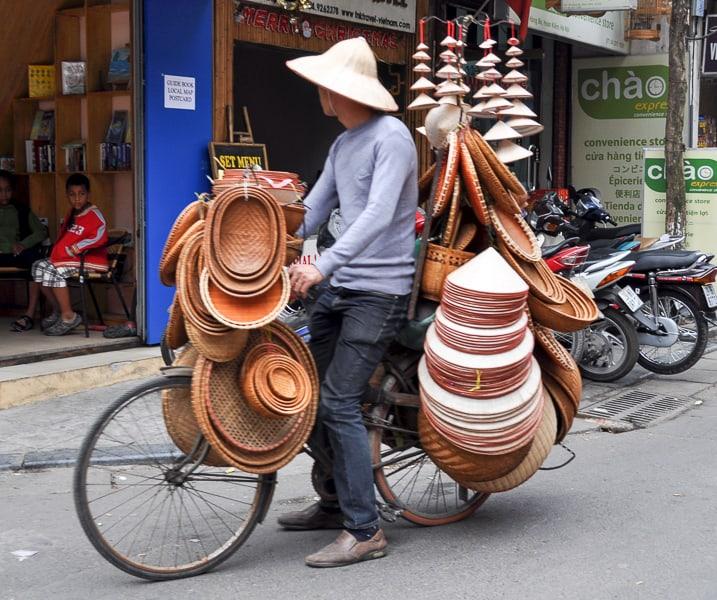 Selling non la hats in Hanoi