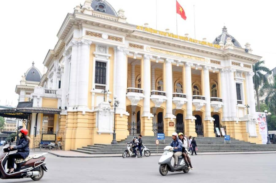 Hanoi Opera House with scooter in front