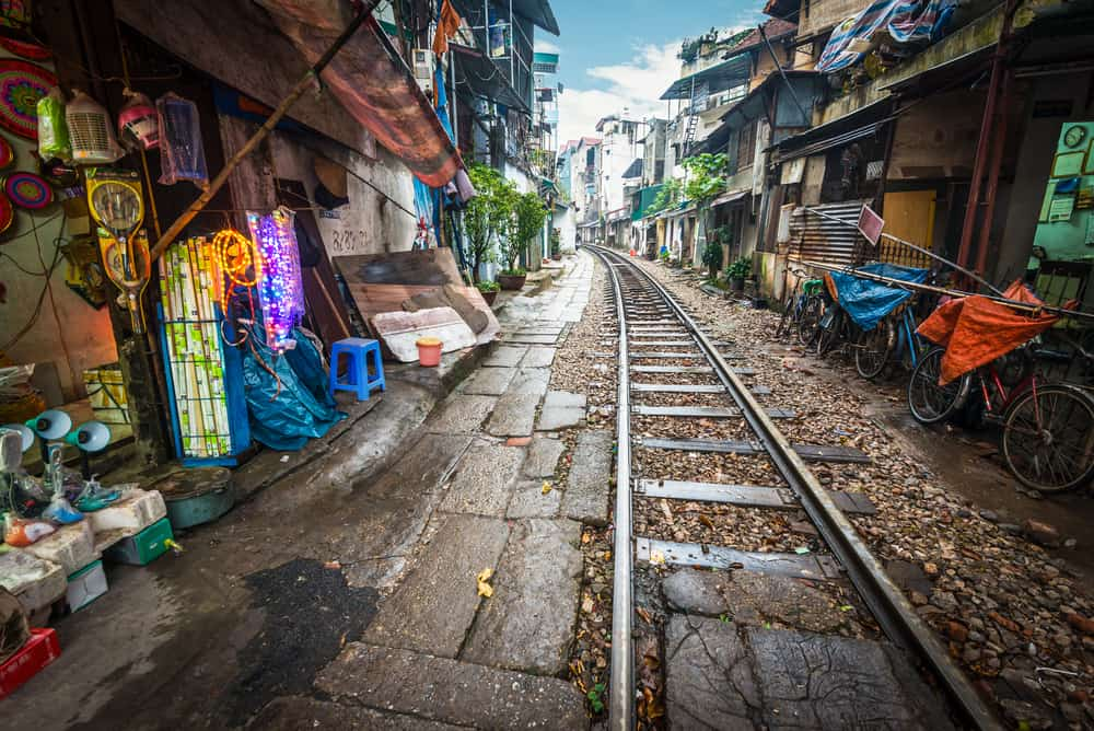 Train track in a narrow Hanoi street
