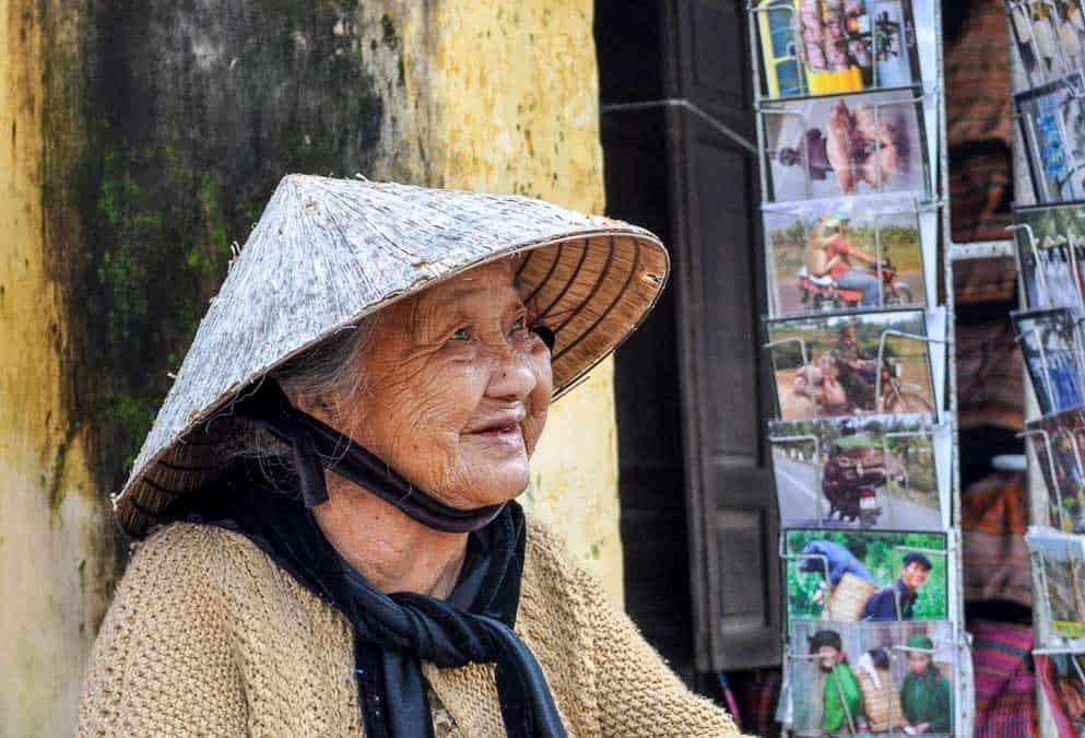 Vietnamese old woman in non la hat