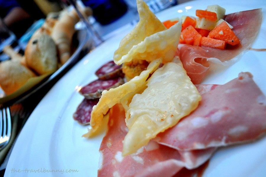 Bologna food - mortadella and canteloupe