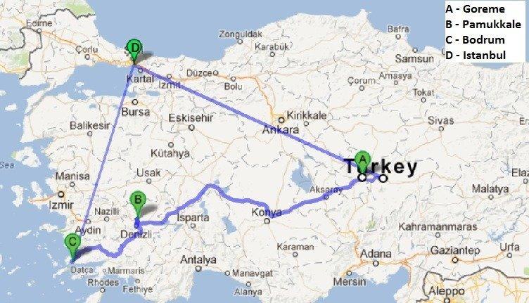 Map of our mini Turkey Tour