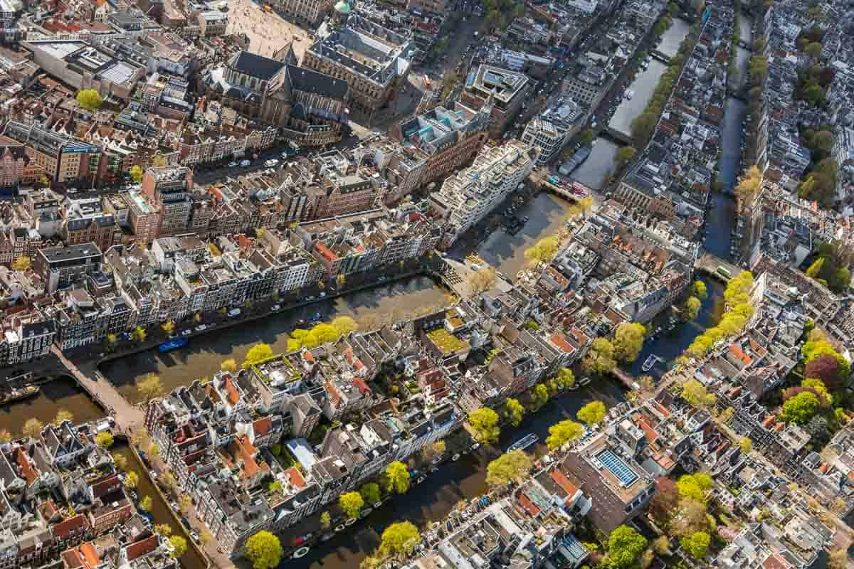 Amsterdam, Netherlands. Aerial view of the Old City Centre