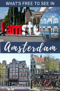 Amsterdam sign with mosaic ball, bikes and crooked buildings