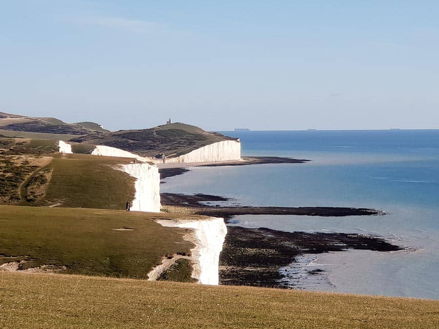Looking along the Seven Sisters Cliffs in East Sussex with the English Channel on the right