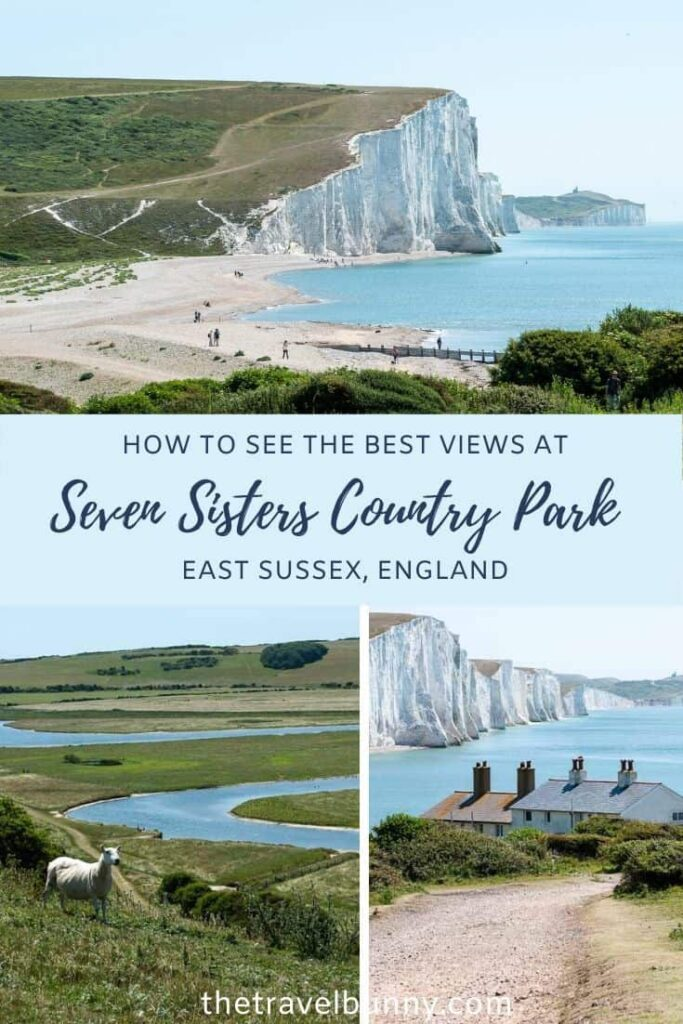 Seven Sisters Country Park cliffs, beach and coastguard cottages