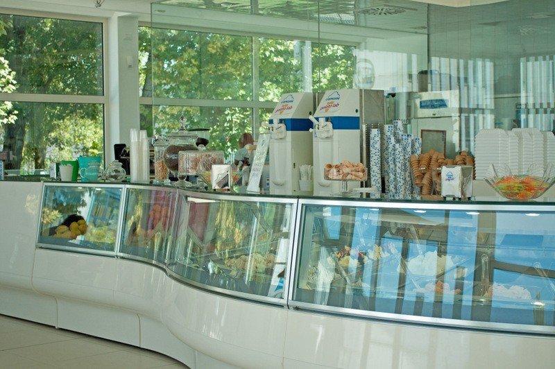 Gelato counter at the Gelato University, Bologna