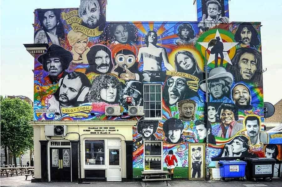 Street art in Brighton Dead rock stars mural