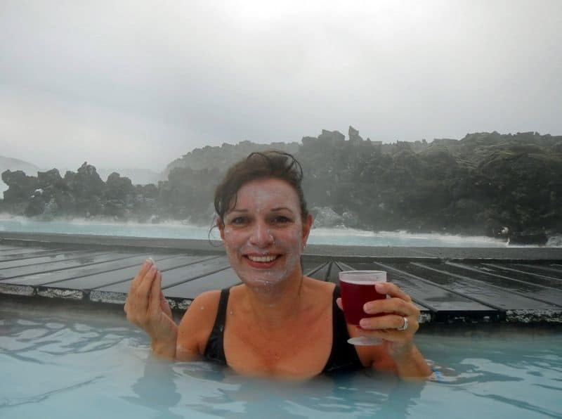 Face Mask and drink at The Blue Lagoon, Iceland