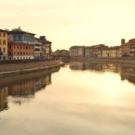 The River Arno, Pisa at Sunset