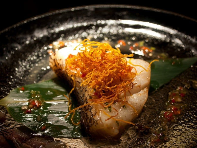 Chilean sea bass with chilli shiso salsa