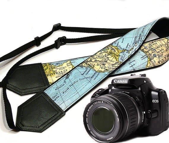 World Map Camera Strap