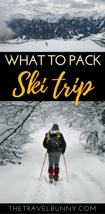skier in snow covered trees and ski packing list