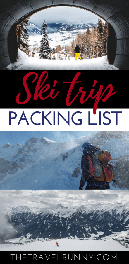 skier and packing list heading