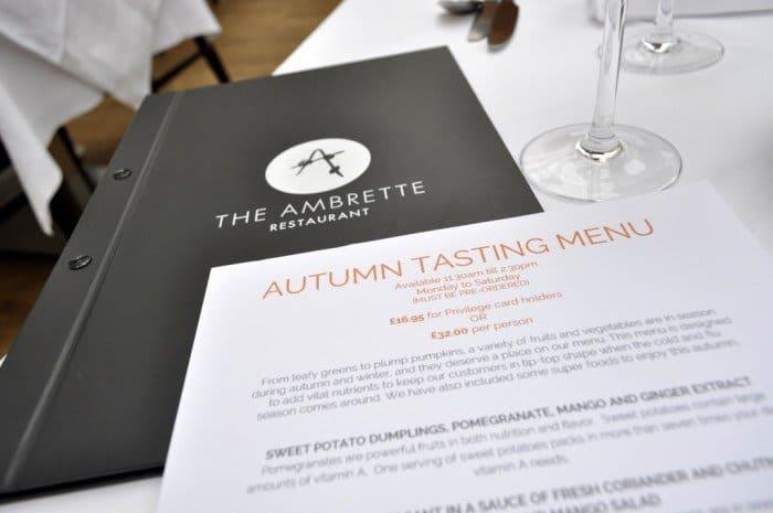 Ambrette Autumn Tasting Menu