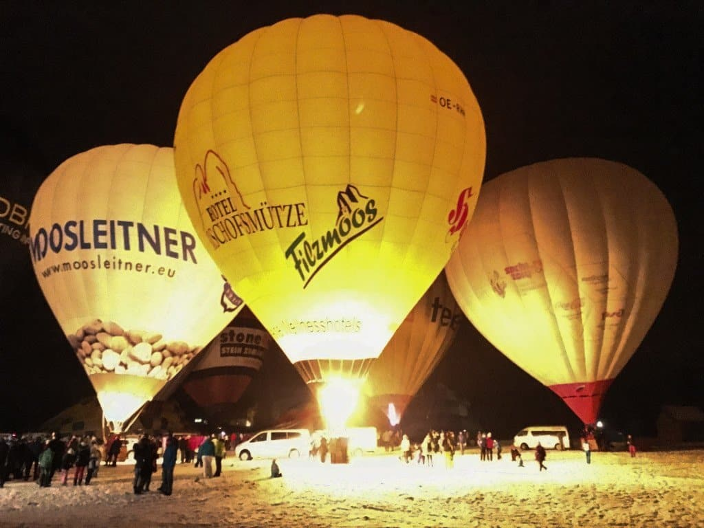 hot air balloons at night in Filzmoos