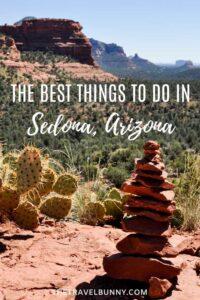 Sedona, Arizona rock stack and cactus