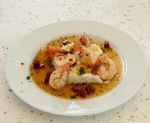 Prawns with Gritts at Ottleys, St Kitts
