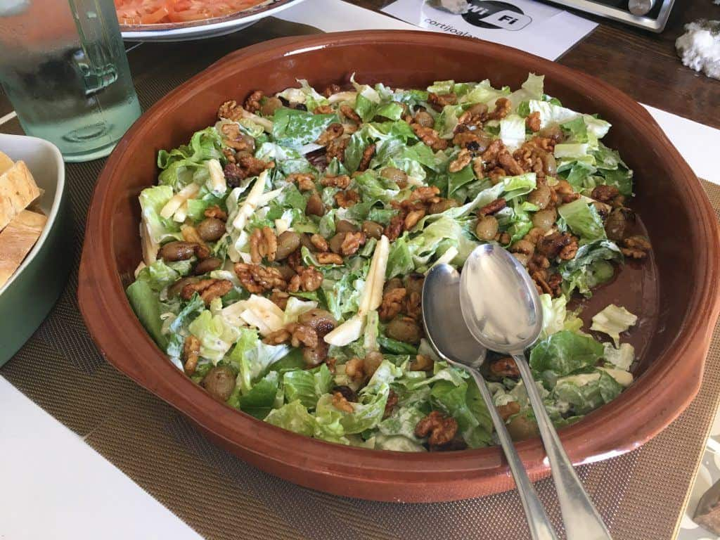 lettuce, cheese and walnut salad