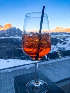 Spritz with mountain backdrop