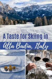 Alta Badia montage with ski slope, wine and plate of food on snow