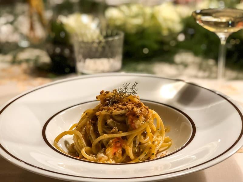 King crab spaghetti with chilli and garlic at La Stüa de Michil Corvara, Italy