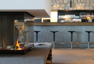 Modern Bar and fire in Piz Boe Mountain Lounge