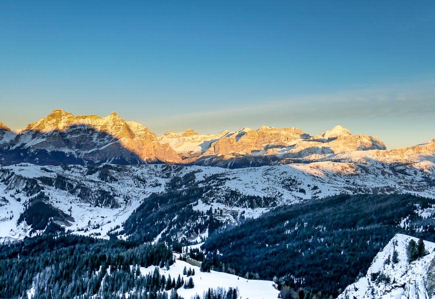 Enrosadira, sunset reflecting on the mountains in the Dolomites Italy