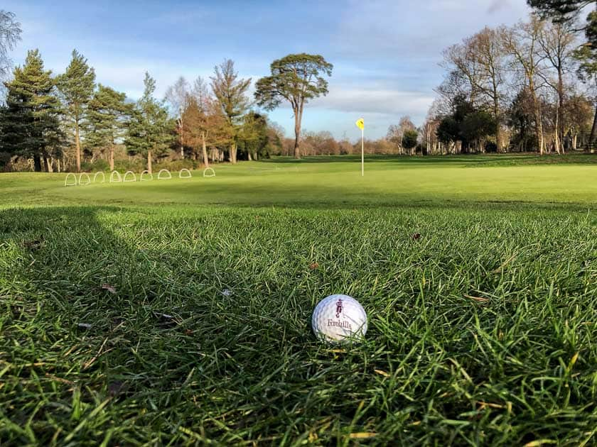 Foxhills Golf fairway with golf ball and flag