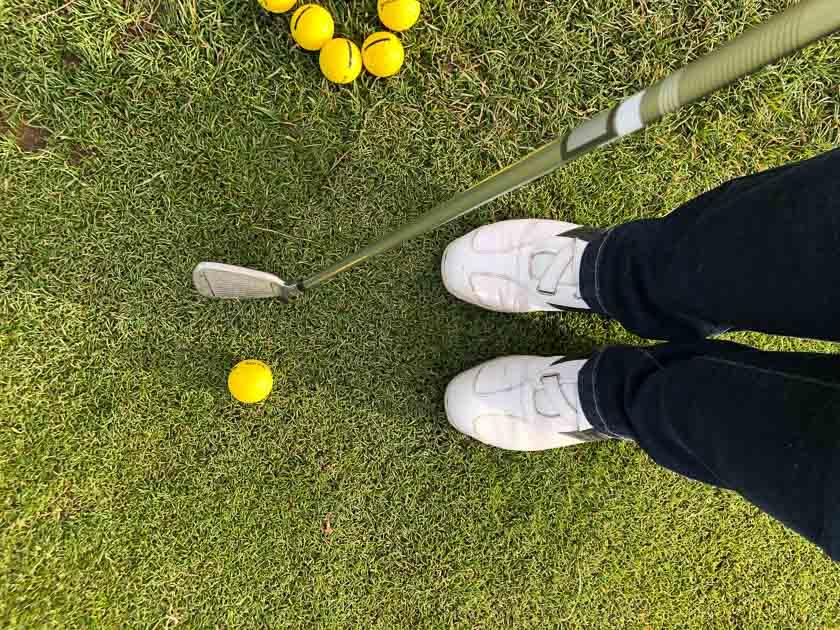 Golf club, golf balls and golf shoes