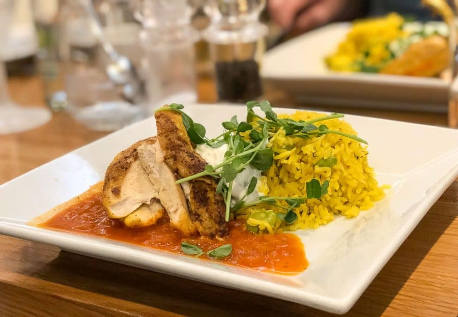 Broad bean, saffron, dill rice, with saffron chicken and a mint yogurt on the side