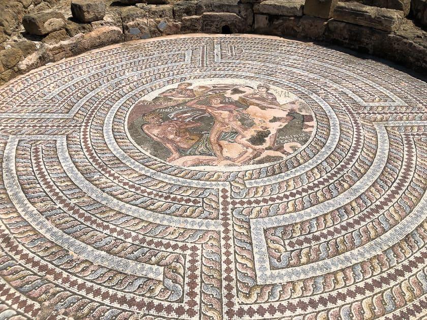 Theseus battle with Minotaur Mosaic Paphos, Cyprus