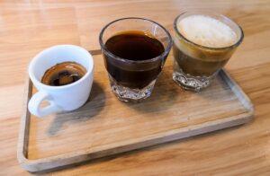 A flight of coffee - Espresso, Americano, Cortado