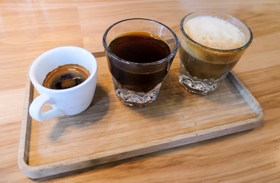 A flight of coffee - Espresso, Americano, Cortado