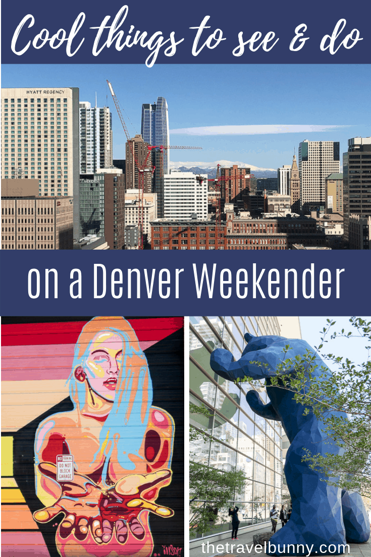 Denver photo montage - blue bear, cityscape, street art