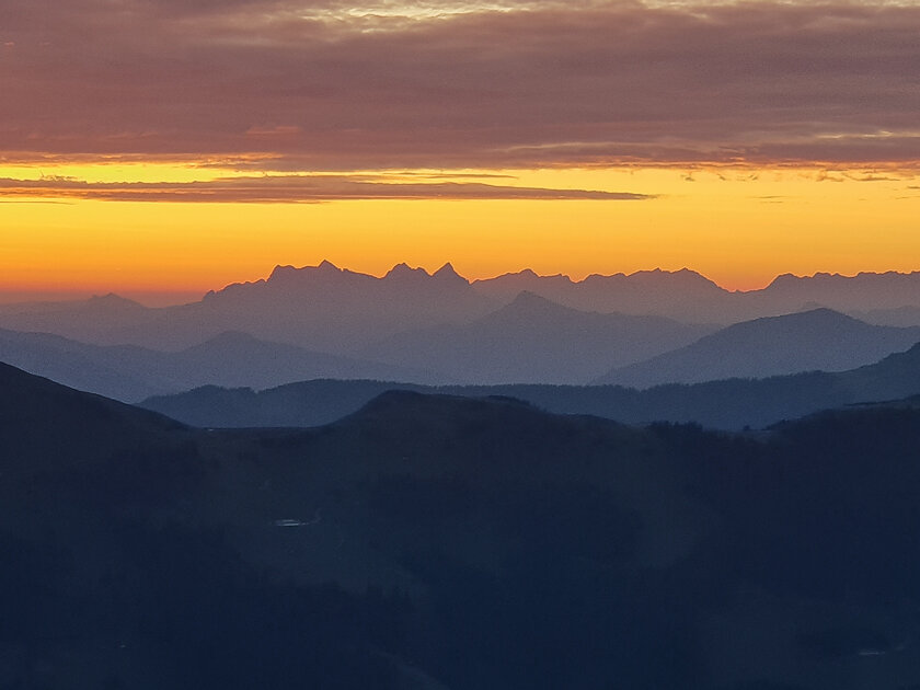 Sunrise behind the Wilder Kaiser Mountains