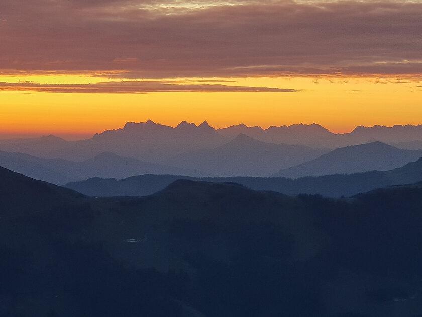 Sunrise behind the Wilder Kaiser Mountains