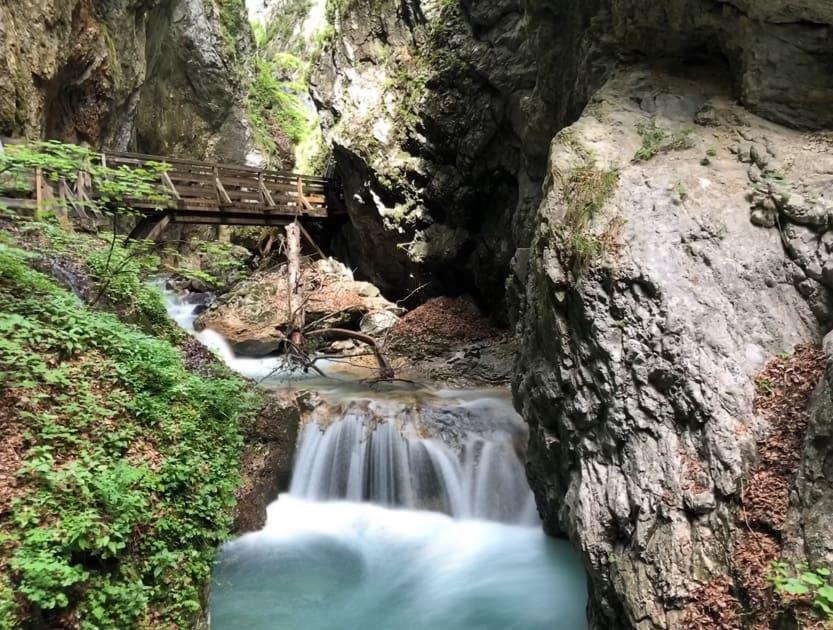 Wolfsklamm Gorge with shallow waterfall