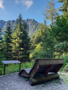 Giant seat with view of the mountains