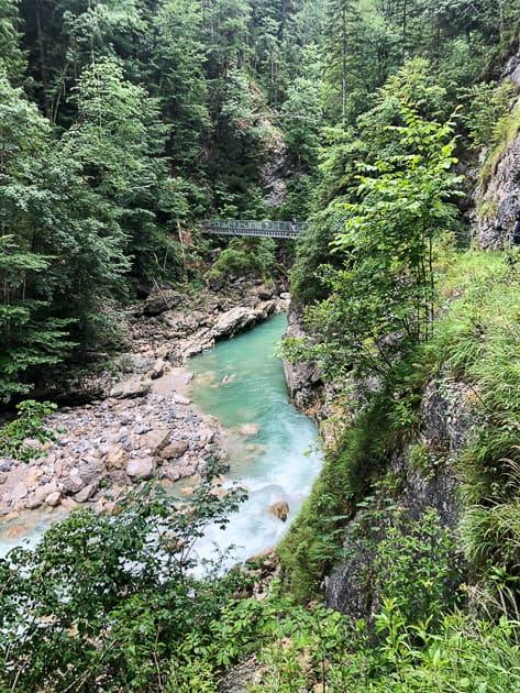 Turquoise blue river running through gorge in Austria