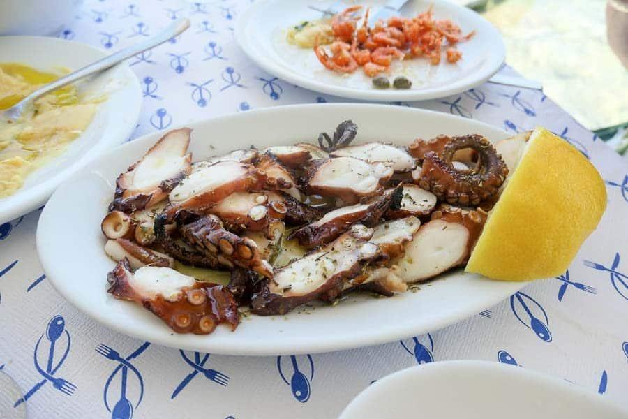 Octopus dish in Ios Greece