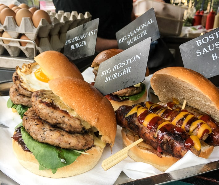 Sausages and burgers at Borough Market