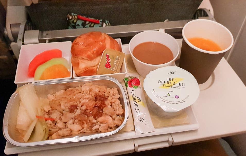 Royal Brunei economy class breakfast