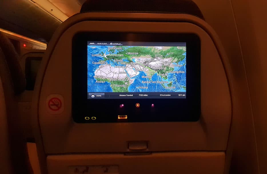 Royal Brunei Airlines economy class screen