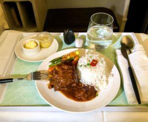 Royal Brunei Business Class dining