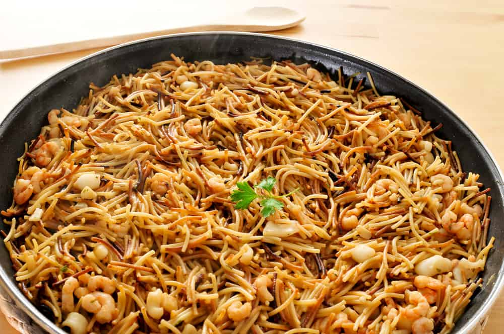 Fideua a Valencian noodle dish with fish
