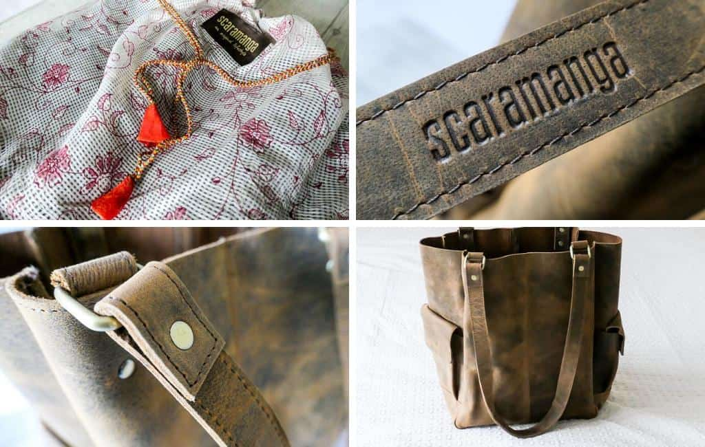 photo montage of Scaramanga leather tote bag