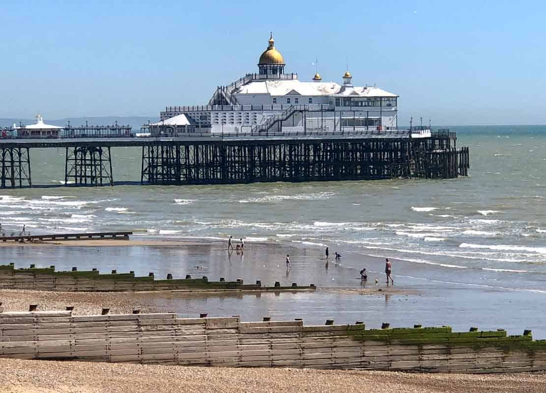 Eastbourne pier with beach foreground