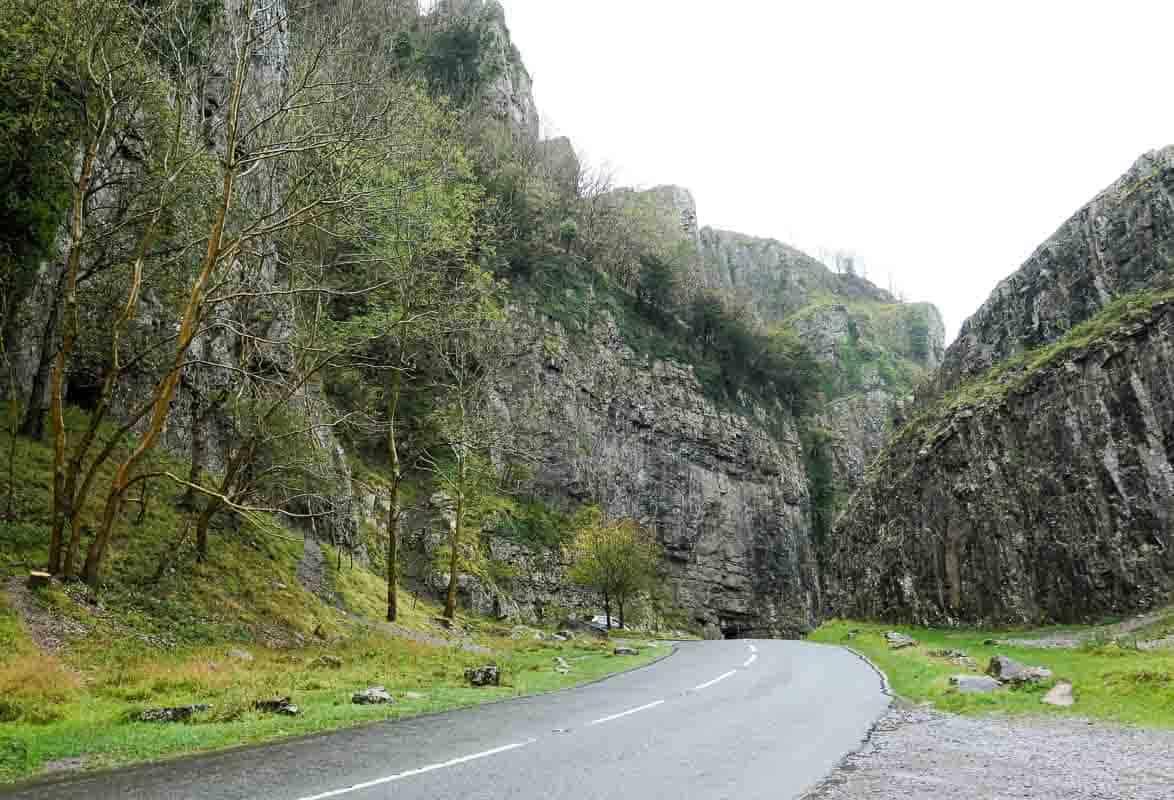 Road through Cheddar Gorge